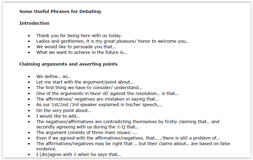 Useful Phrases for Debating